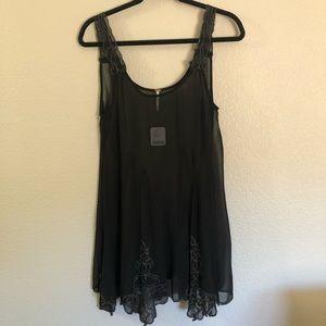 NWT Free People chiffon, embroidered slip dress